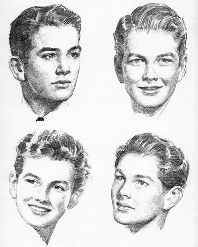 Мужская причёска рисунок карандашом
